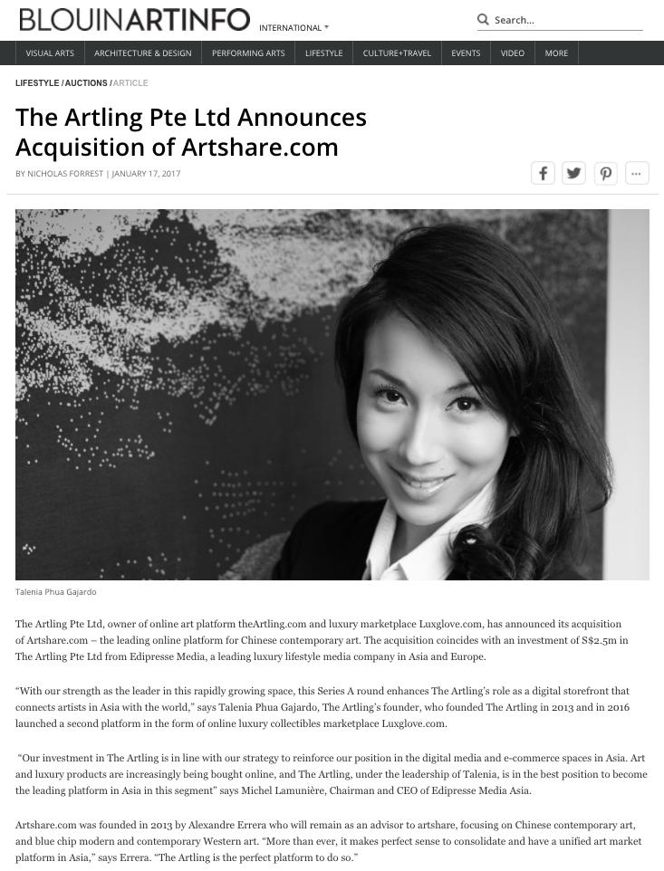 The Artling Pte Ltd Announces Acquisition of Artshare.com